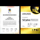 Ehrenkodex GWW und Urkunde 50 Jahre PSI